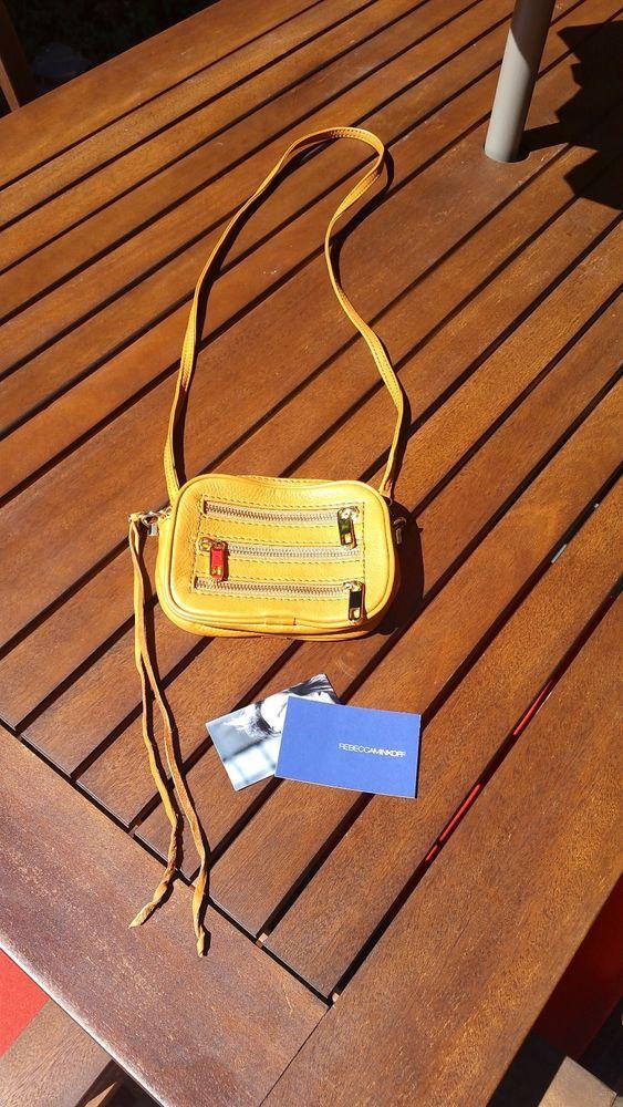 BNWOT REBECCA MINKOFF COGNAC LEATHER MINI CROSS BODY BAG 3 ZIPPERS GOLD HARDWARE #RebeccaMinkoff #MessengerCrossBody