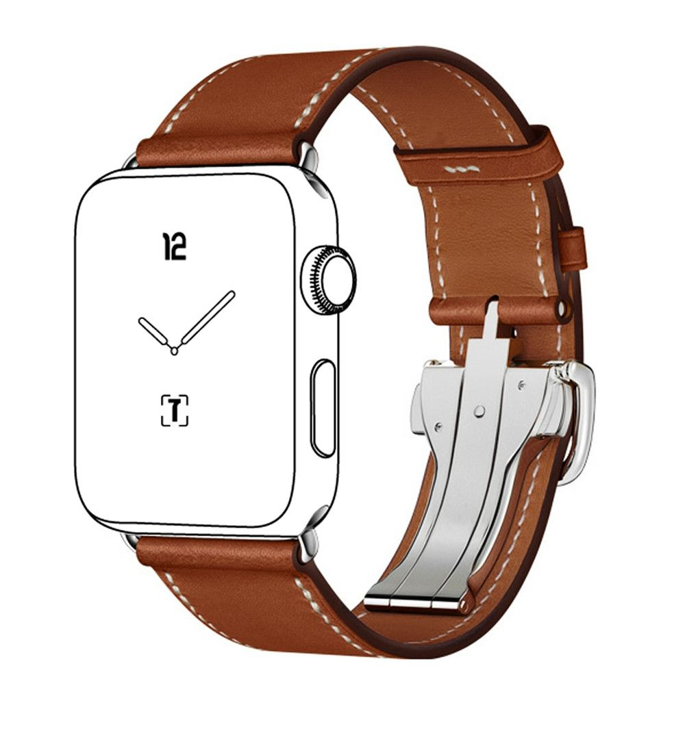 Genuine leather Hermes watch band Deployment Buckle Single Tour Leather  strap for apple watch band Series1 Series2 887735580ad
