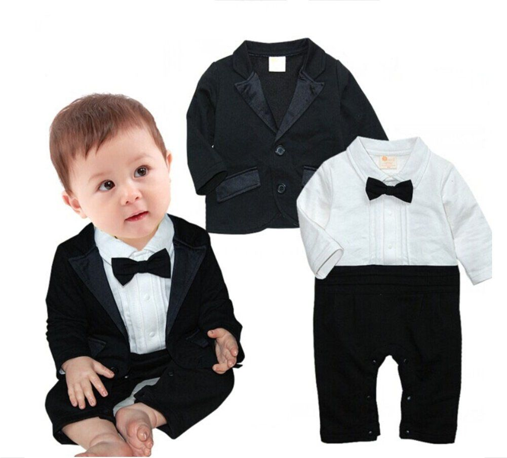 b58c1ba81a4 StylesILove Baby Boy Tuxedo Romper and Jacket 2-pc Formal Wear Suit (3-6  Months)