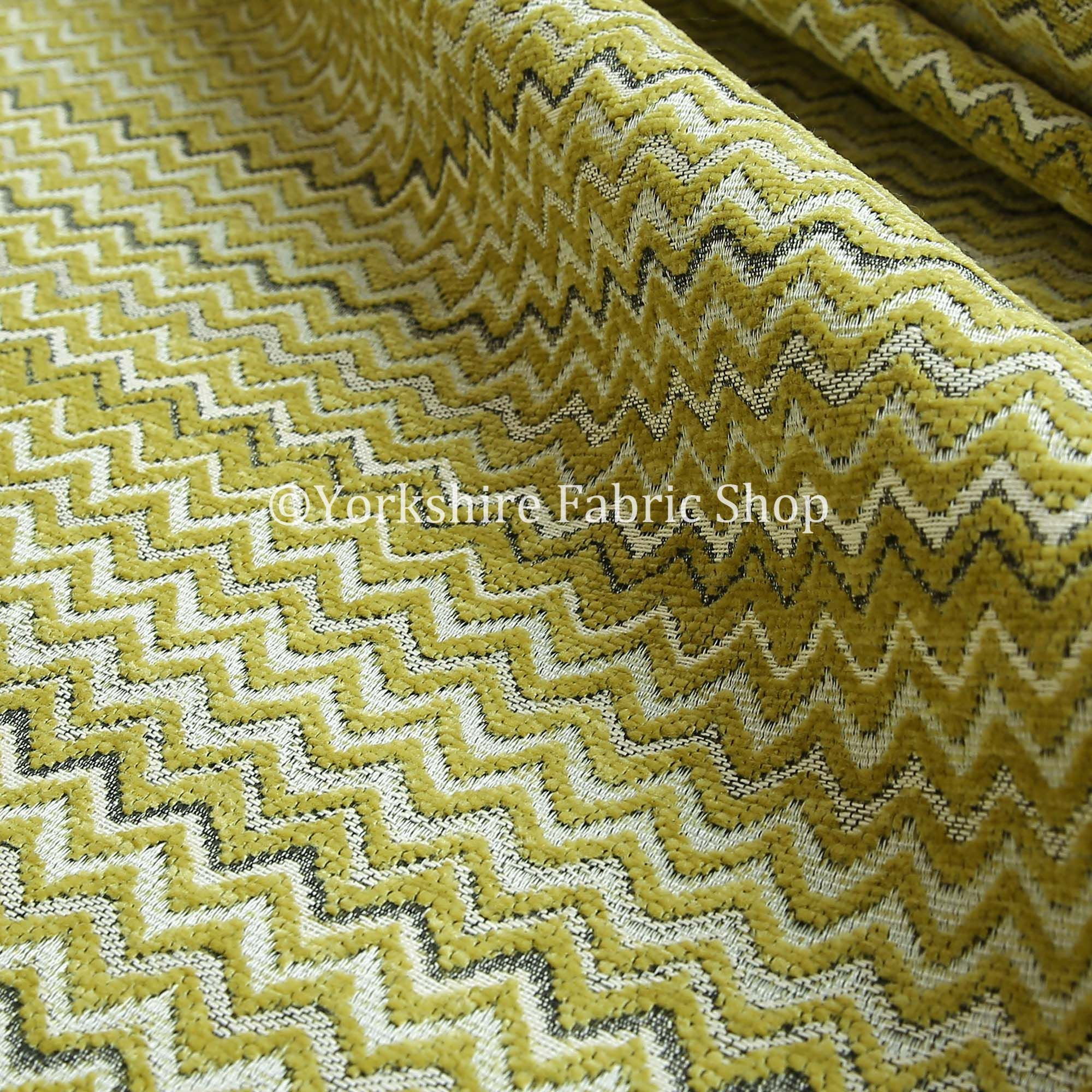 Zig Zag Chevron Pattern Green Colour Striped Pattern Fabric Chenille Upholstery