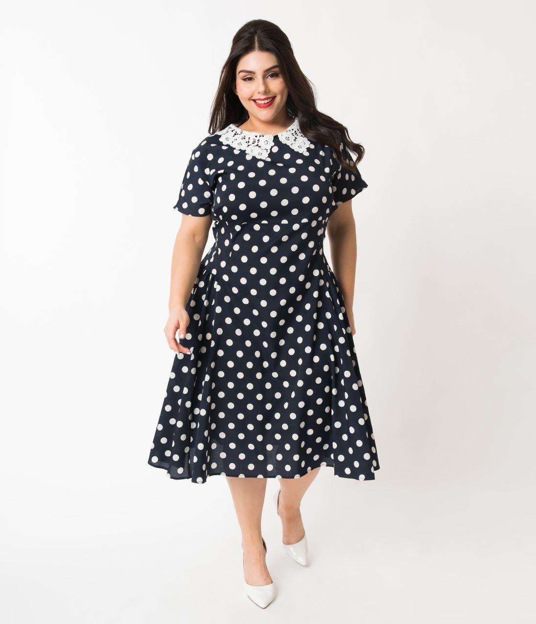 07cc1ff931 Unique Vintage Plus Size 1940s Navy   White Polka Dot Lace Collar Margie  Dress