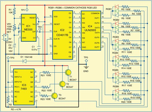 Presented Here Is A Simple Circuit That Uses Six Red Green And Blue Rgb Leds To Generate A Running Light Effec Circuit Diagram Led Color Electronics For You