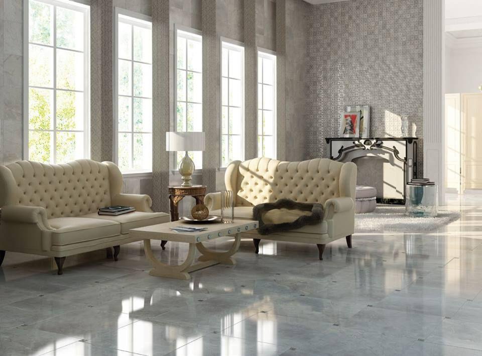 Beautiful Livingroom Very Bright And Serene Thanks To The Combination Of Neutral To Grey Floor Tiles Living Room Elegant Tile Flooring Floor Rugs Living Room
