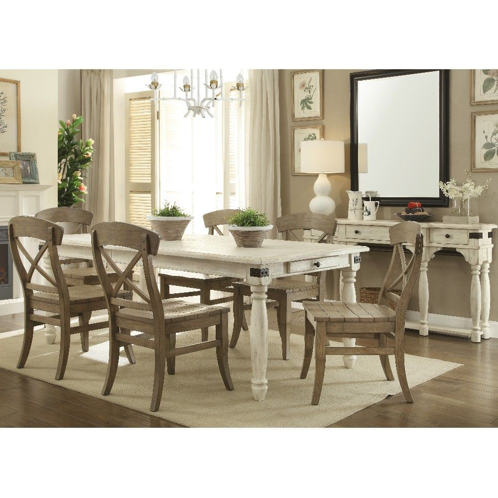 Regan Wood Rectangular Dining Table in Farmhouse White by