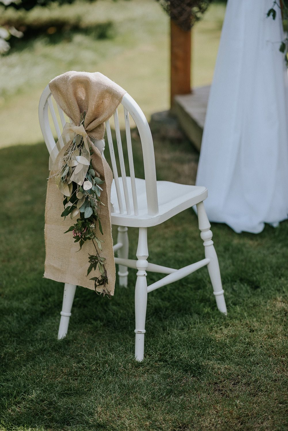Hessian Chair Sash With Foilage Dressing Our Chair At Cosawes Barton Cornwall Wedding Chair Decorations Wedding Chair Sashes Chair Decorations