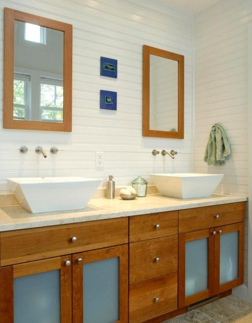 Beadboard is a coastal cottage staple; here it's been turned 90 degrees to create horizontal lines.