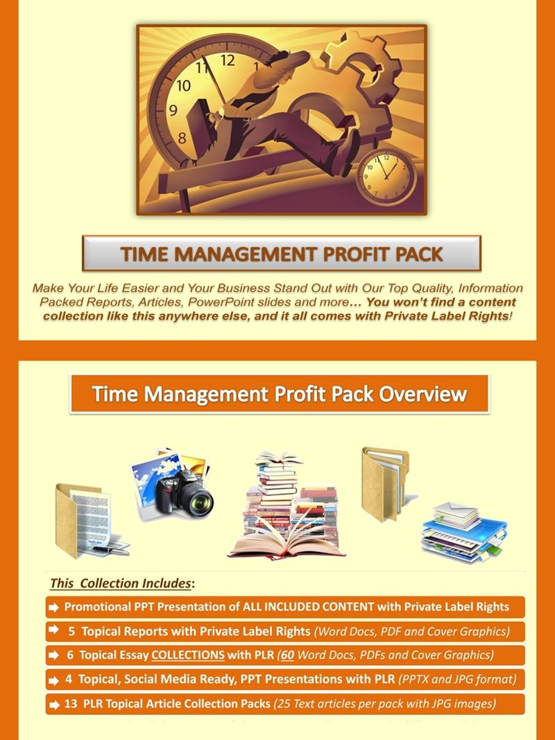 Time Management Plr Profit Pack Quality Value Packed And Affordable