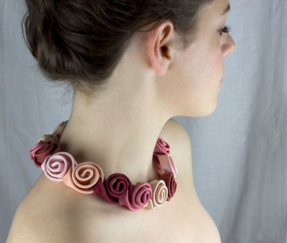 rose textile necklace bridal necklace ready to ship by clireu, $220.00