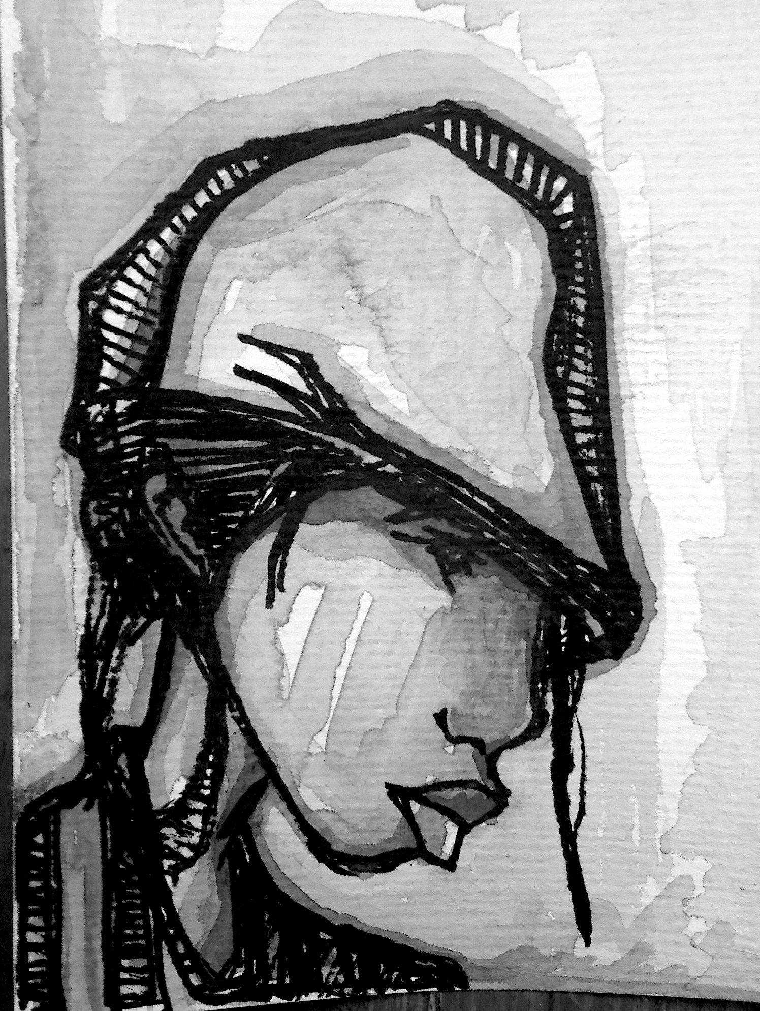profile of a bro in Brazil. marker and watercolor