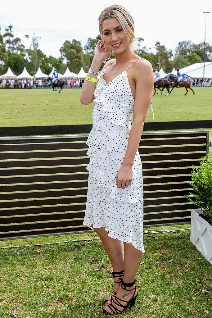 MELBOURNE, AUSTRALIA - NOVEMBER 26: Alexandra Nation attends the Somersby  marquee at Land Rover