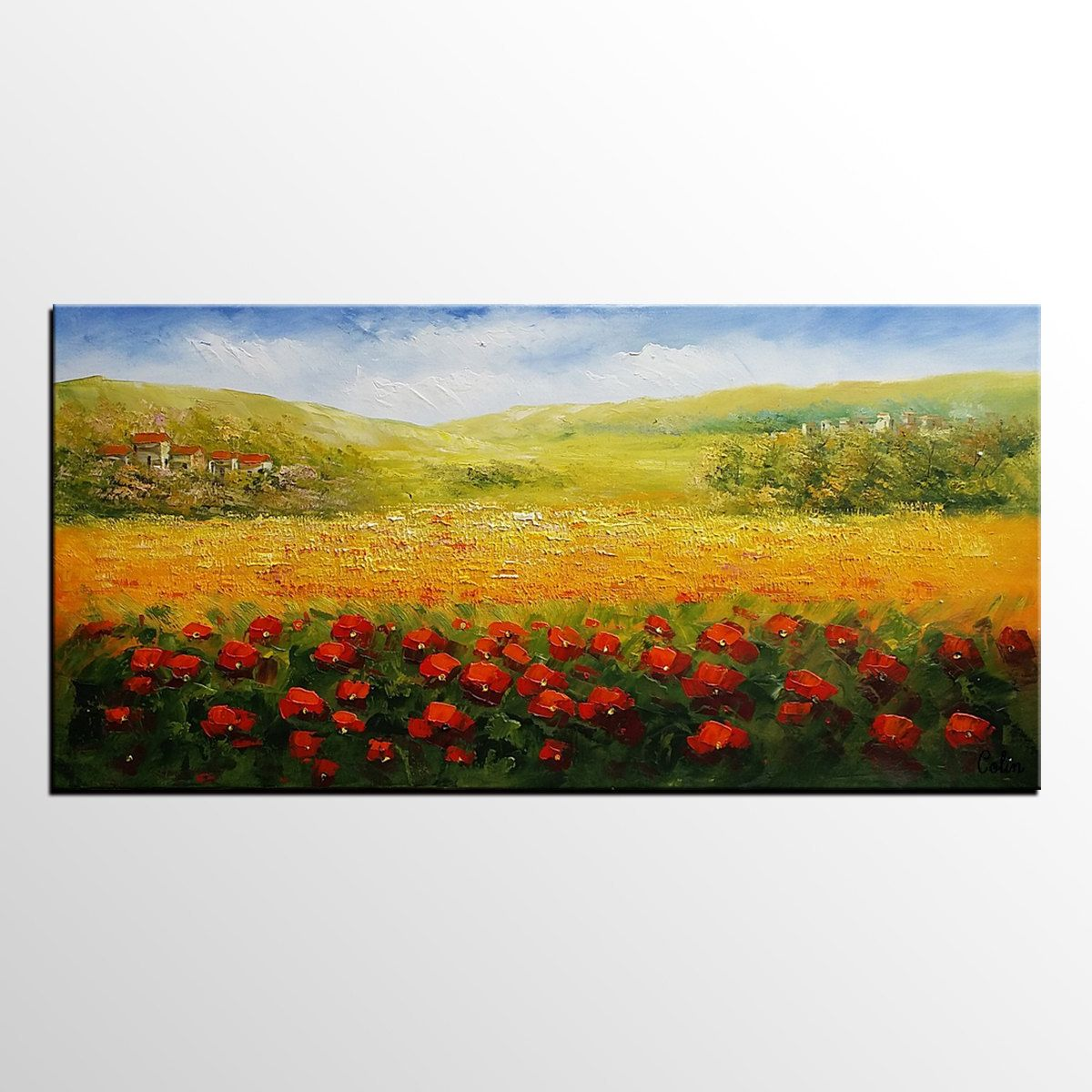 Landscape Painting, Flower Field Painting, Canvas Art, Oil Painting ...