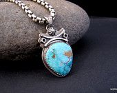 Deconstructed Turquoise Sterling Southwest Pendant