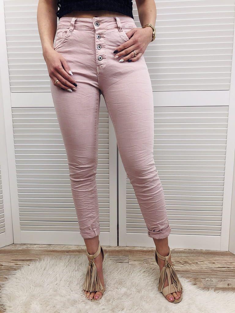 Spodnie Rurki Wysoki Stan Pastelowy Roz Fashion Capri Pants Pants