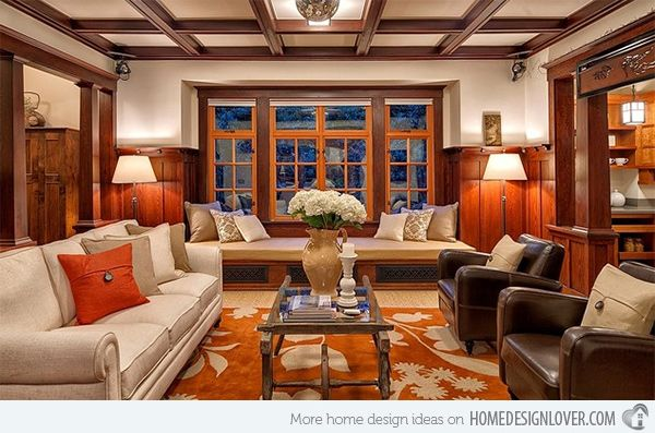 mission style living room. 15 Warm Craftsman Living Room Designs  living rooms