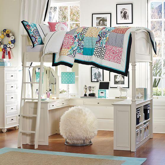 Charming Chelsea Vanity Loft Bed, Full, Simply White