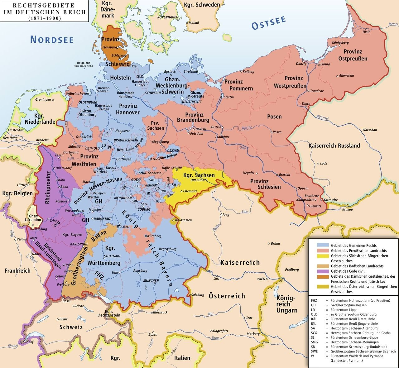Different legal systems in the German Empire, 1871-1900. | Maps ...