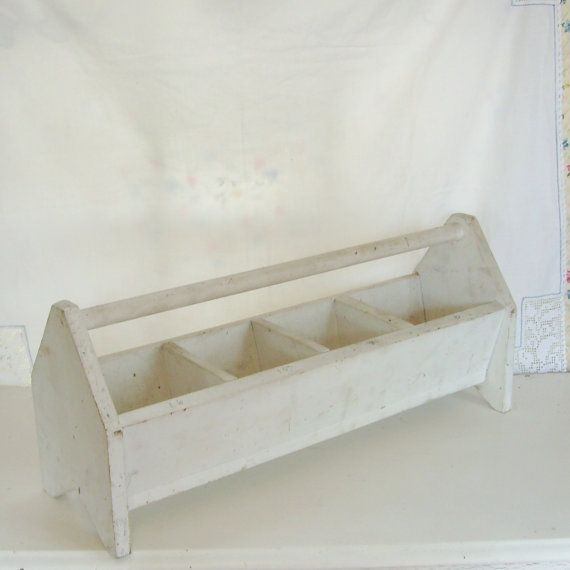SOLD Vintage white wood tote tool #farm #garden divided with handle by trendybindi, $50.00 #storage
