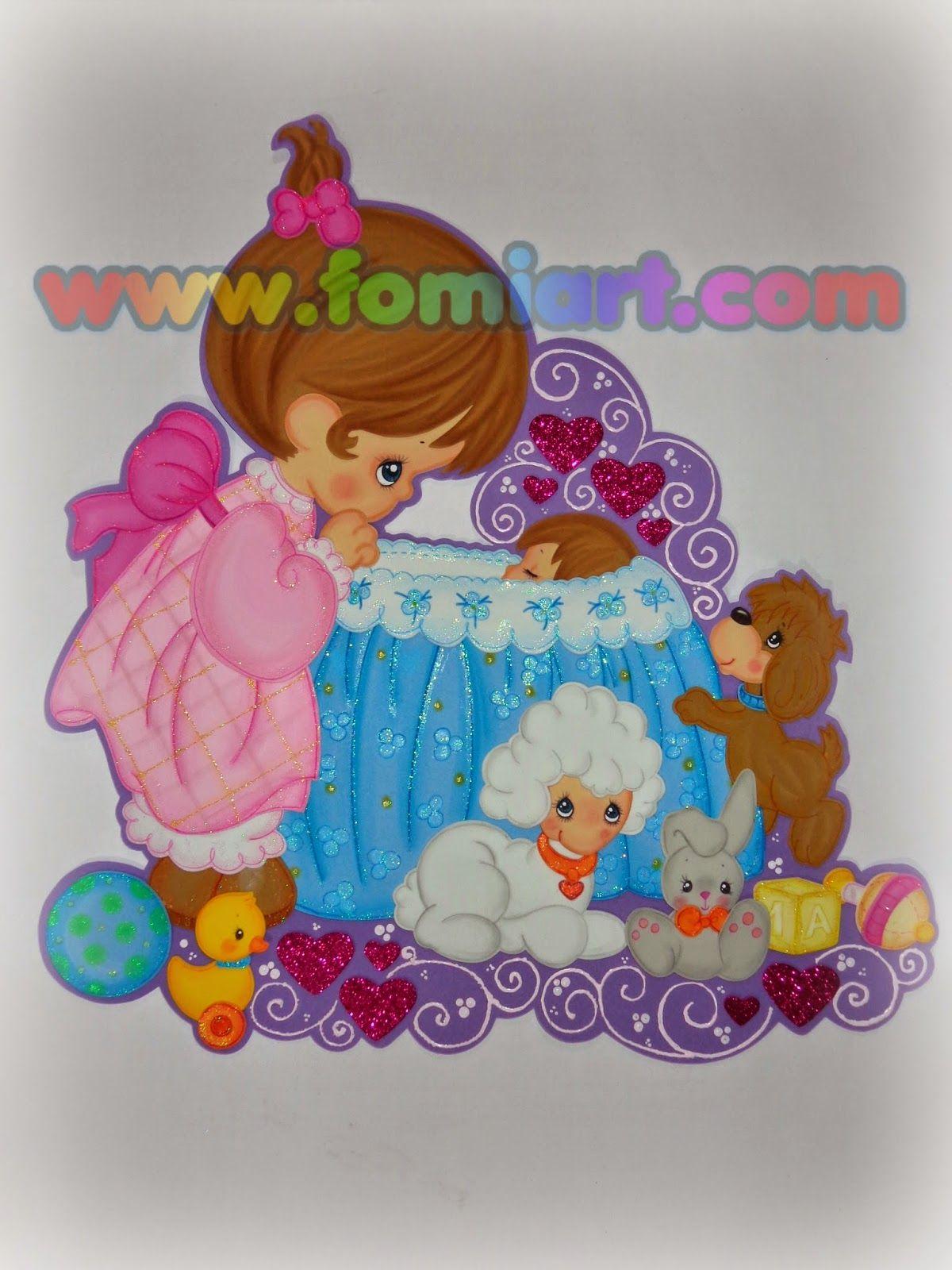 Bebé con cigue±a decorado en foami fomi goma eva