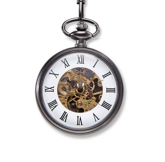 4fa6cd7fc Exposed Gears Pocket Watch | Personalized Engraved Gunmetal Pocket Watch,  Groomsman, Wedding Favor Gift [JDPKT]