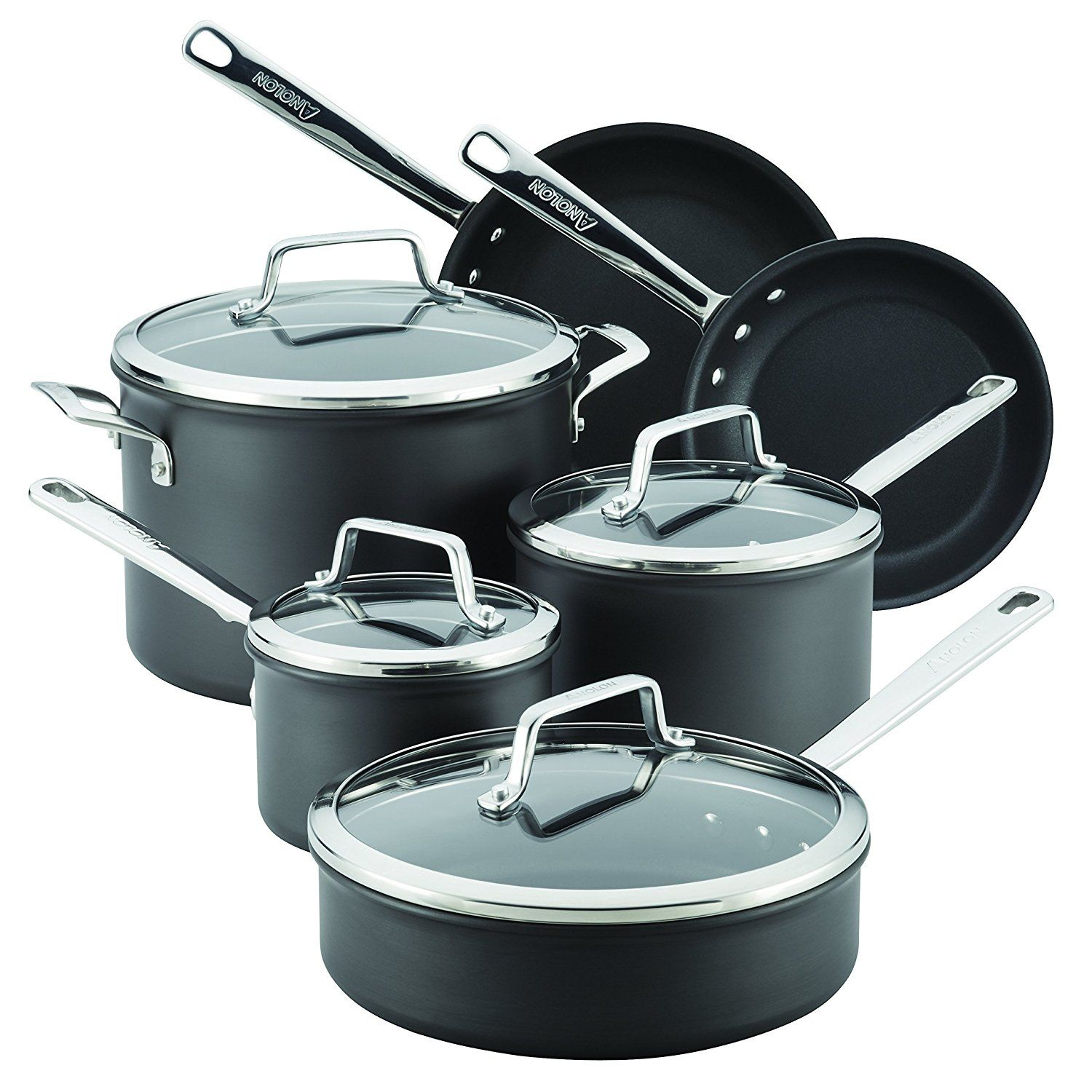 Anolon 10 Piece Authority Hard-Anodized Nonstick Cookware Set, Gray ...