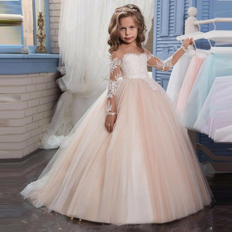 69c5392f613 2018 New Arrival Long Sleeve Lace Flower Girls Dresses