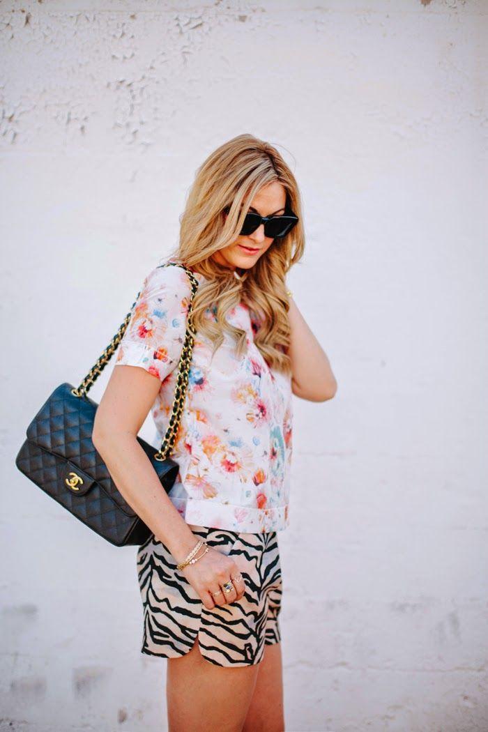 Tiger Print Shorts, Rebecca Taylor, Enchanted Garden, Poppy Blossom, Tee, Shorts, Chanel, Jumbo Caviar, Melinda Maria, Bangles, Titan Bracel...