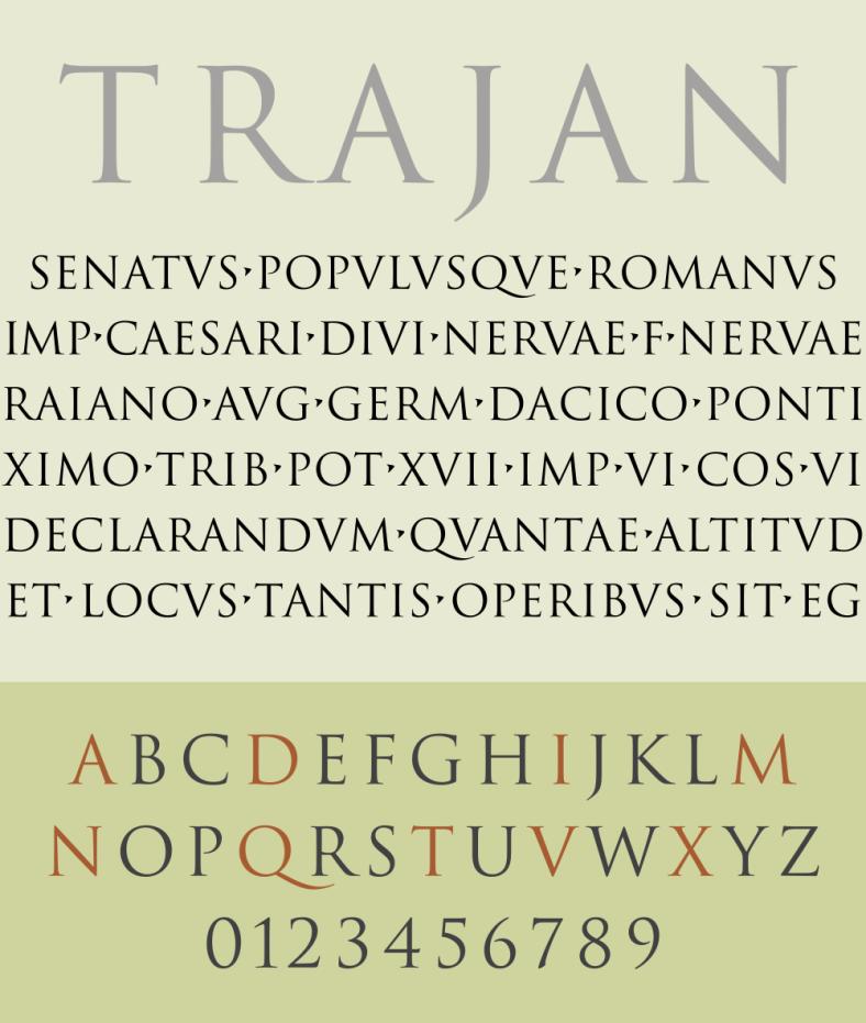 Specimen of Trajan Typeface | TypographyBook | Serif typeface