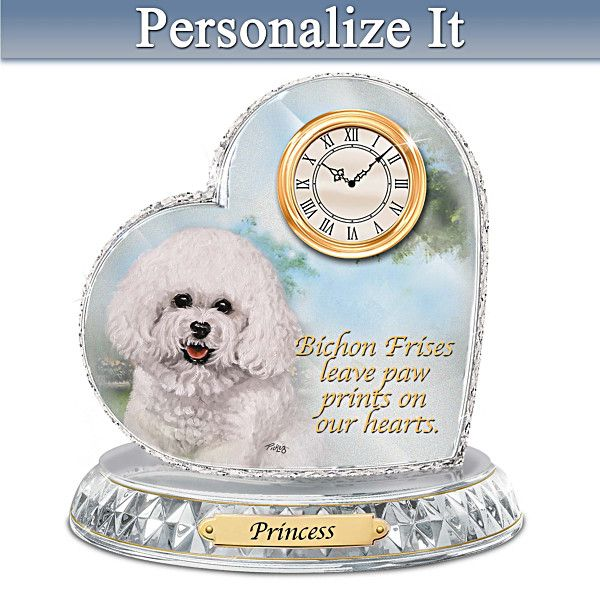 Linda Picken Bichon Frise Clock With Your Dog S Name Bichon Bichon Frise Pet Owners Gifts