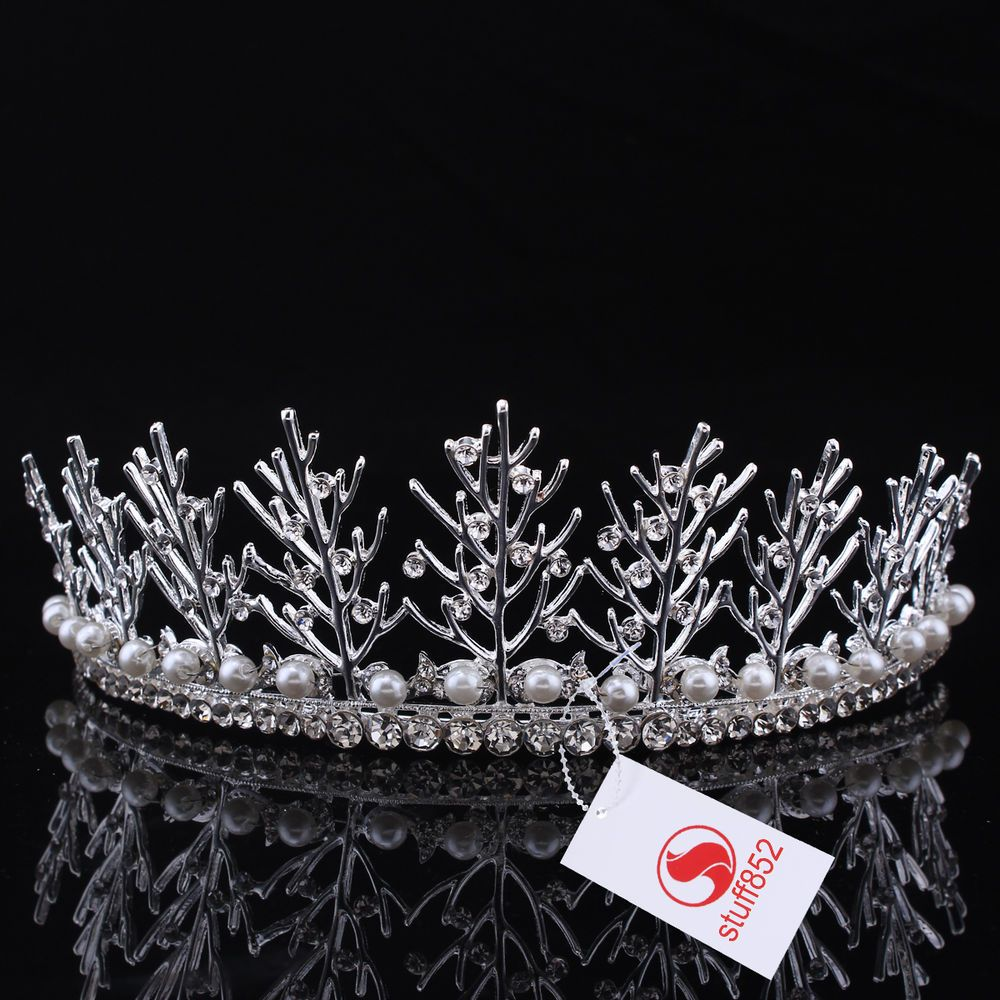 Hairstyles With Crown Queen: Silver/Gold Rhinestone Hair Tiaras Tree Branches Crystal