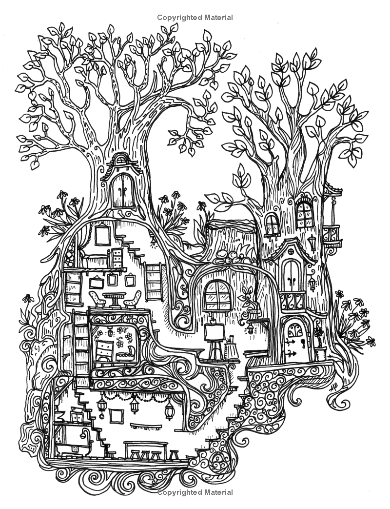 a coloring book for adults and children - secret village