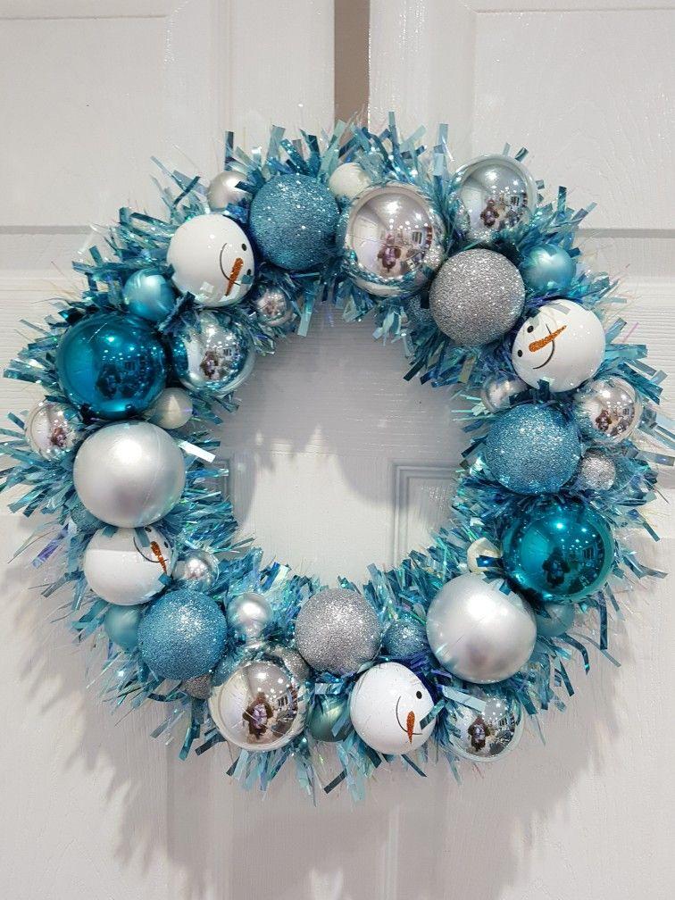 Christmas wreath tinsel wreath blue and silver wreath