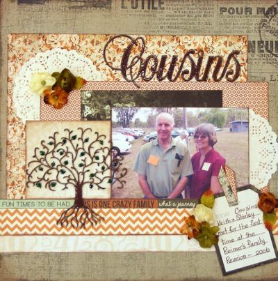 Cousins page created by Rosemary with Kaisercraft Mister Fox collection for My Scrappin' Shop.