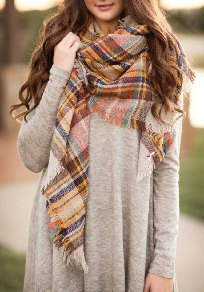 db252bd12 Fall Colored Plaid Blanket Scarf Fall and Winter Scarves | Scarves ...