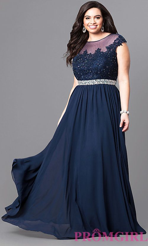 e28557b8ae Image of cap-sleeve plus-size illusion prom dress in navy blue. Style:  DQ-9400Pn Front Image
