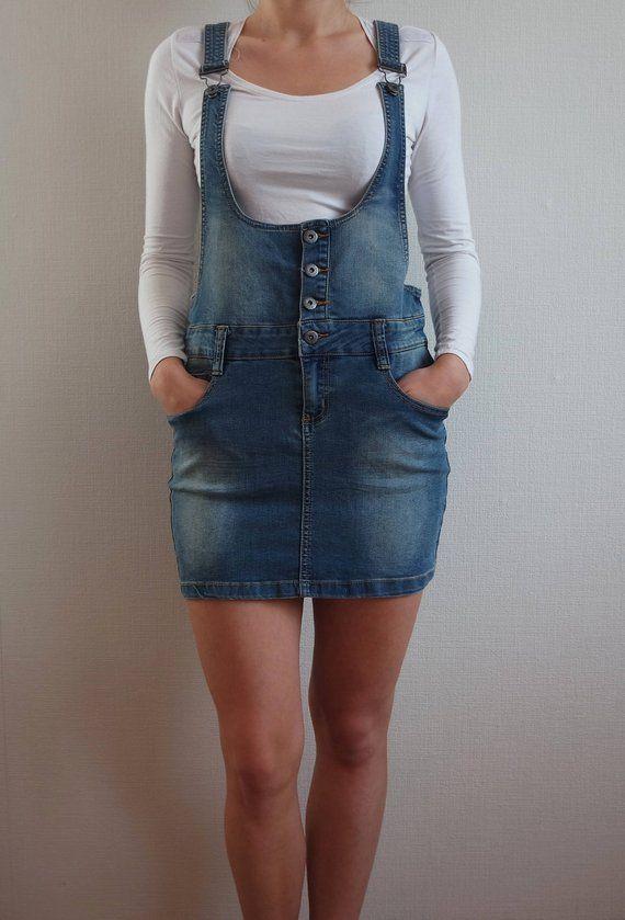 cd3d2de28b Vintage Denim Overalls Jeans Jumpsuit Overalls Miniskirt Skirt Jumpsuit  Boho One piece Size 40 EU Bl