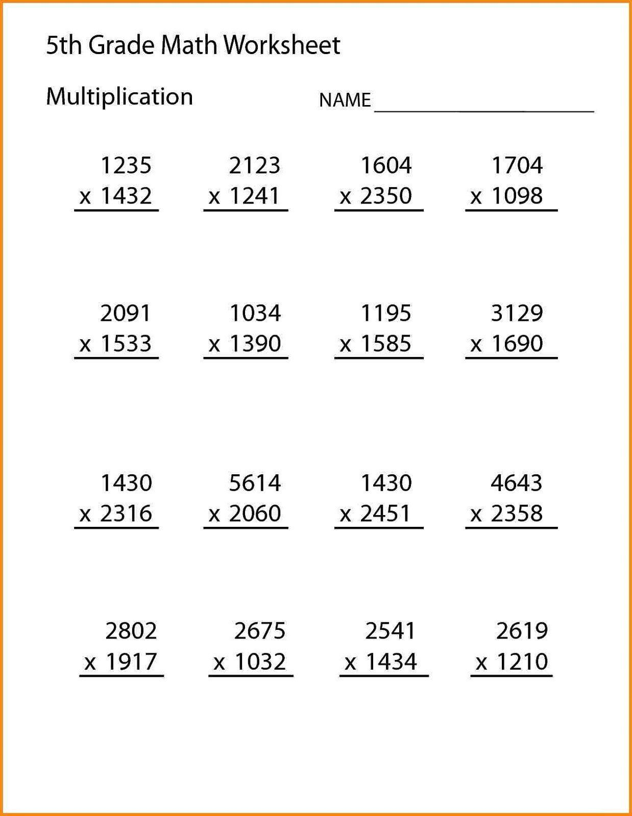 5th Grade Math Worksheet Fifth Grade Math Worksheets In