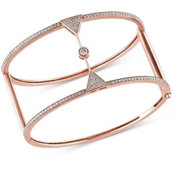 Pave Rose by Effy Diamond Bangle 1 1 2 ct t w in 14k Rose Gold