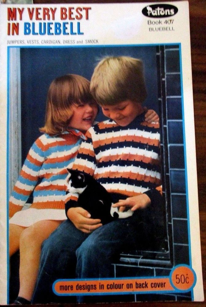Patons knitting pattern book no. 407 Children's jumpers cardigans smock & vests #Patons
