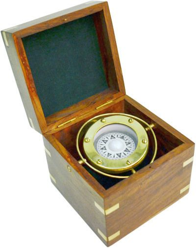 Ship's compass with wooden box.