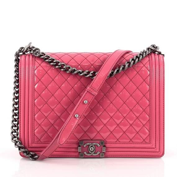 70a1562b2d74 Boy Flap Bag Quilted Patent Large | c h a n e l | Bags, Chanel ...