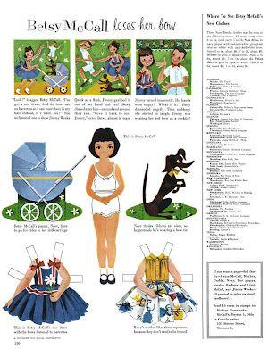 Bonecas de Papel: Betsy McCall loses her bow, 1954