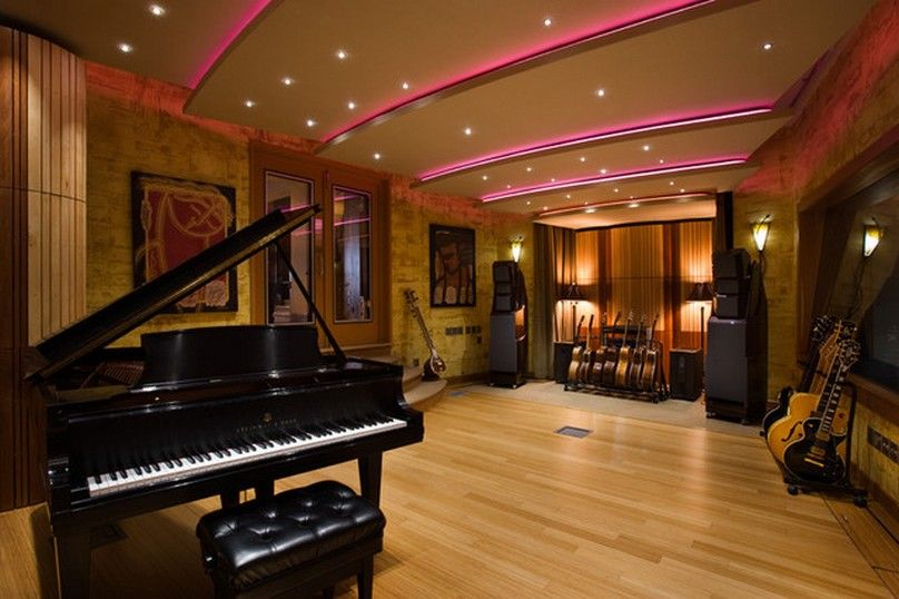 Decorating, Home Music Studio Floor Plans With Modern Recessed ...