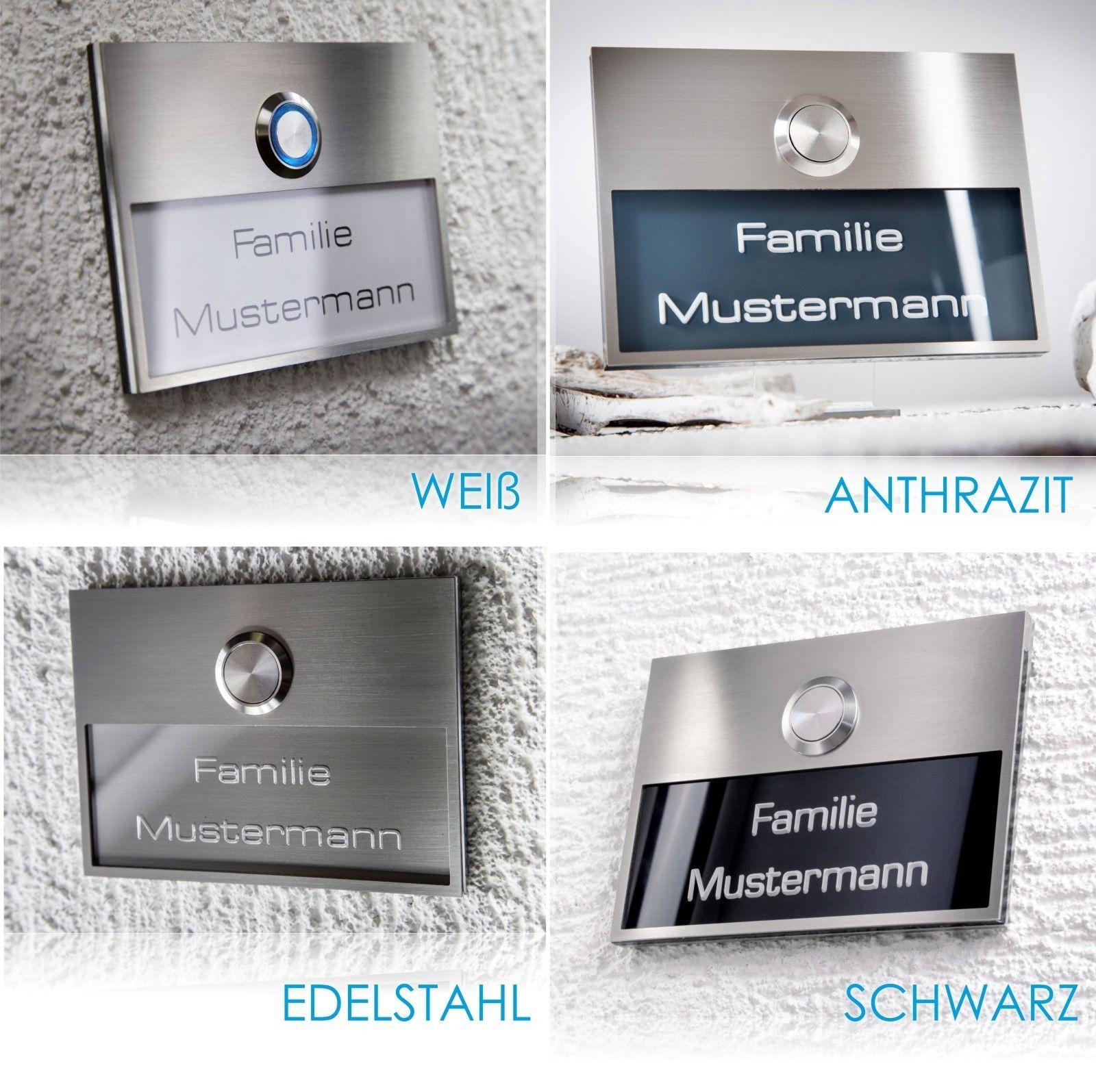 Türklingel Klingelplatte Edelstahl Schwarz Beschriftung Gravur LED-Klingeltaster