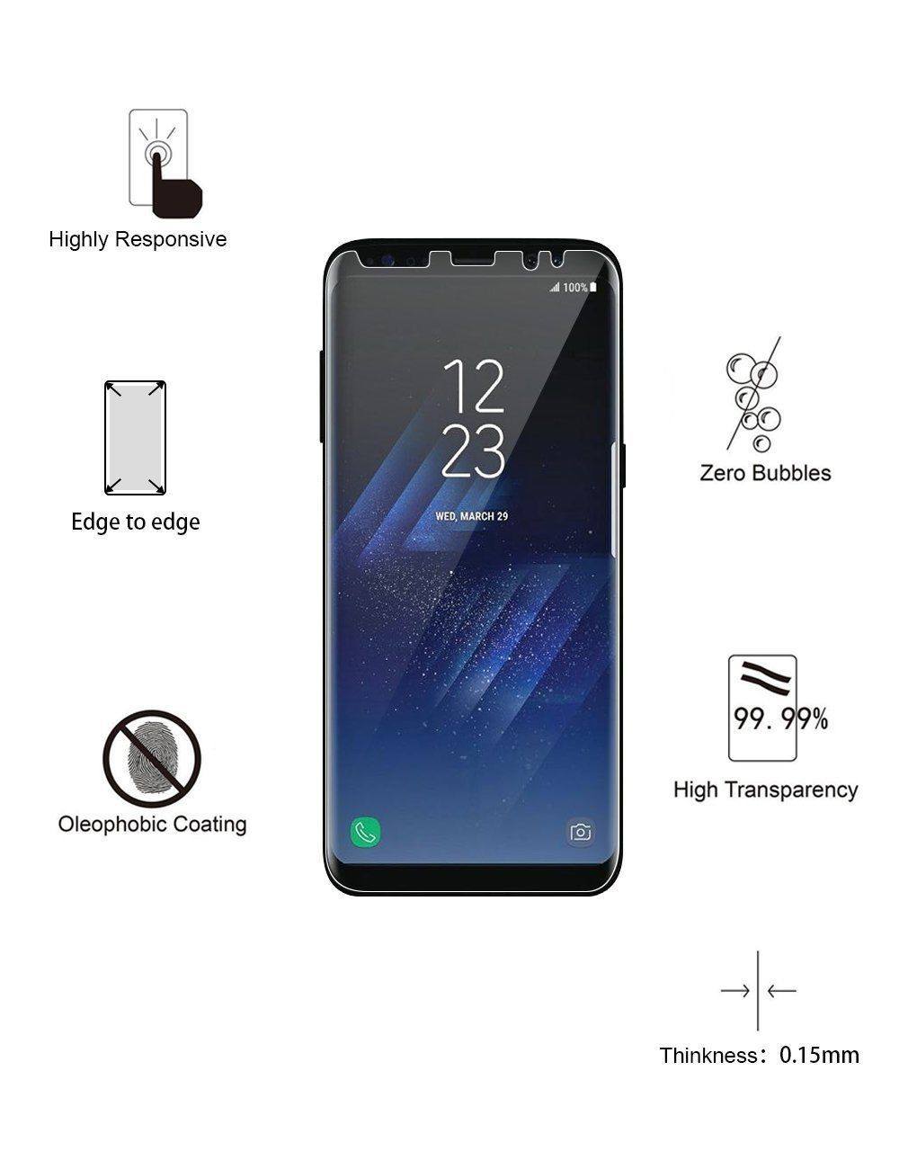 Galaxy S8 Plus Screen Protector 2pcs Bubble Free Anti Scrach Ultra Clear Screen Ebay Galaxy Galaxy S8 Samsung Galaxy