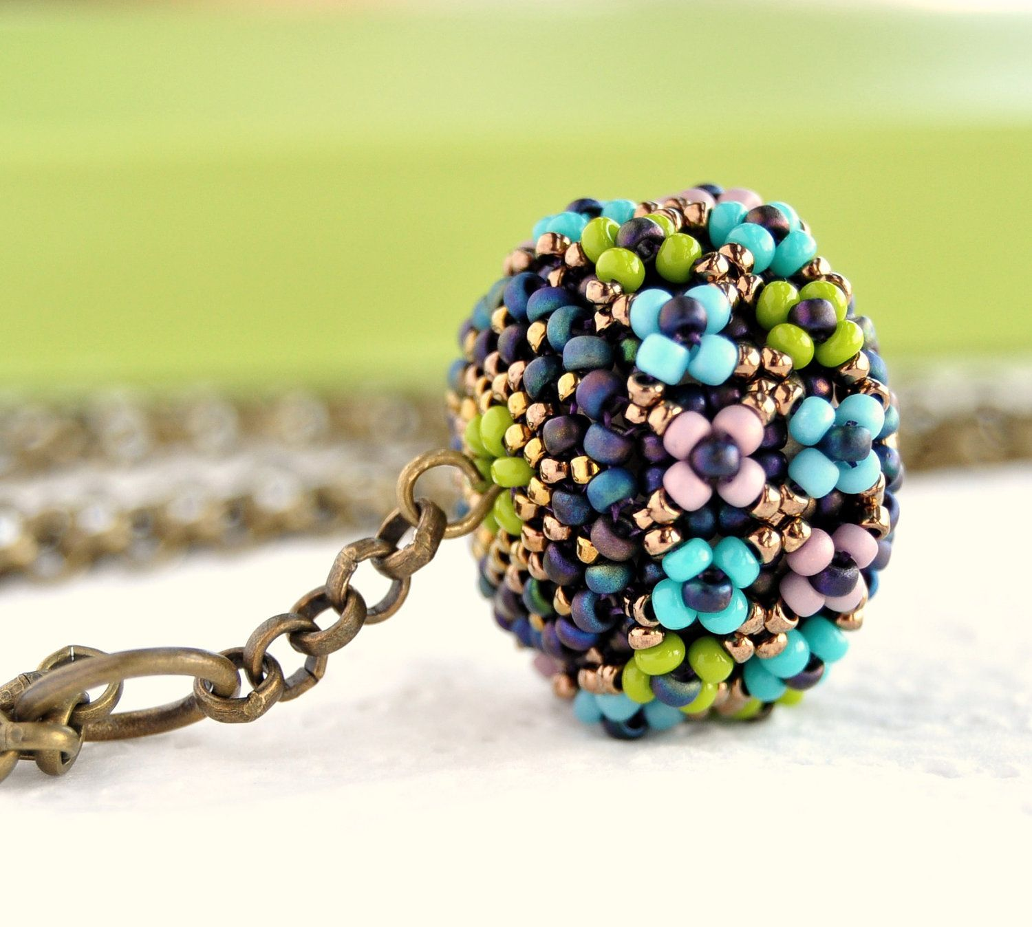 Flowers Pendant Beaded Beads - Flowers Necklace - Beadwork Necklace. €14,00, via Etsy.