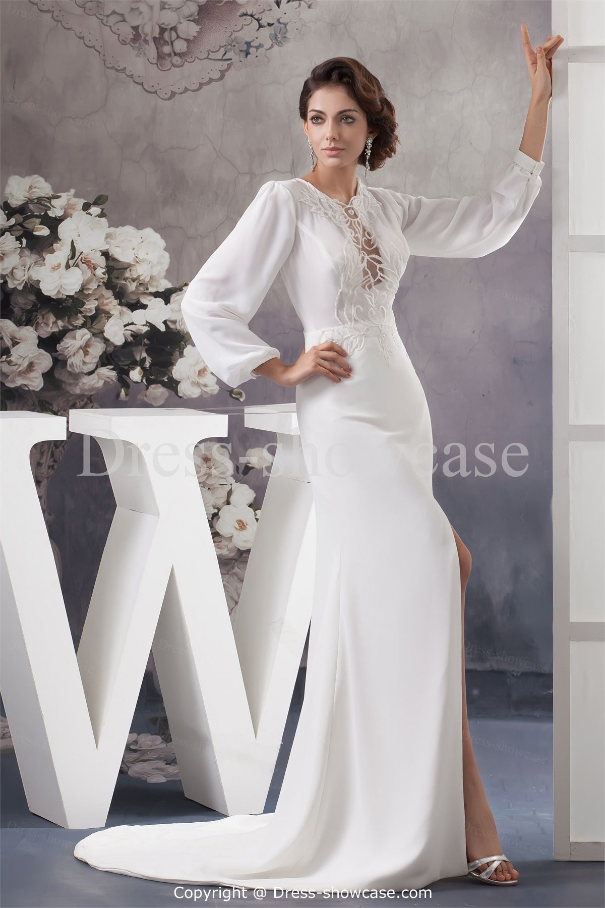 garden wedding dress silk charmeuse long sleeve wedding dress Long Sleeve Garden Zipper back