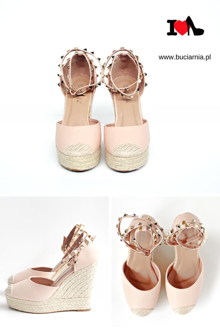 Bladorozowe Koturny Zapinane Na Pasek Z Cwiekami Koturny Ze Sznurkiem Espadryle Na Koturnie Www Buciarnia Pl Espadrilles Shoes Sandal Espadrille