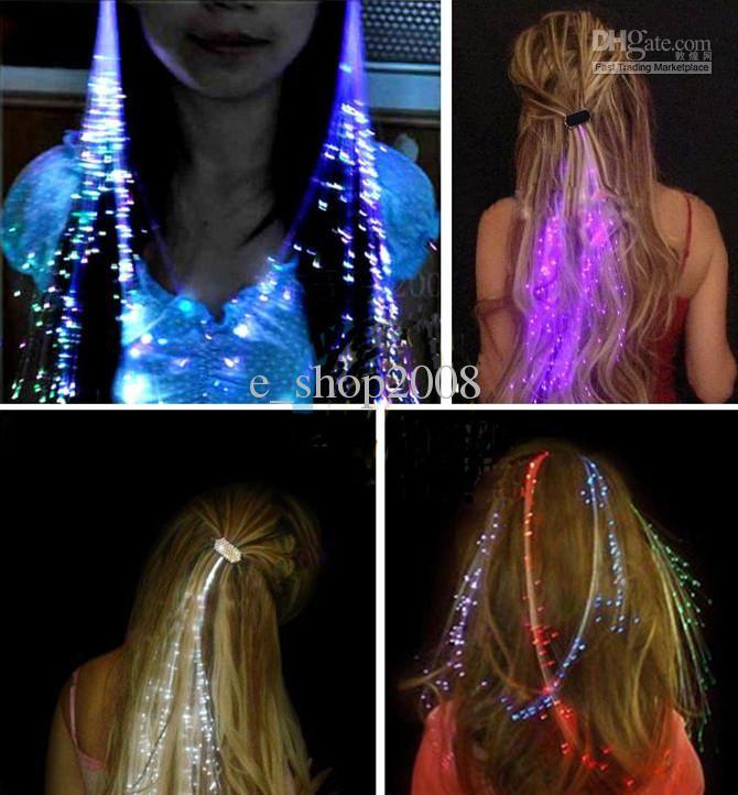 LED Fiber Optic Hairpin Light-Up Braid Luminous Hair Flashing Rave Party Novelty