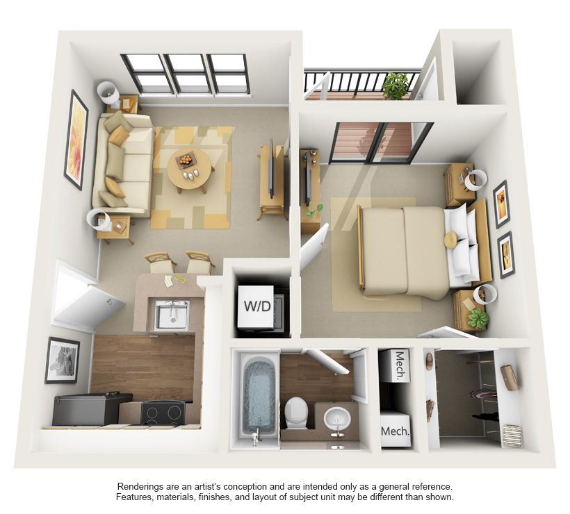 3d apartment floor plans spring colony 1x1 650sf 3d i for Studio apartment design 3d
