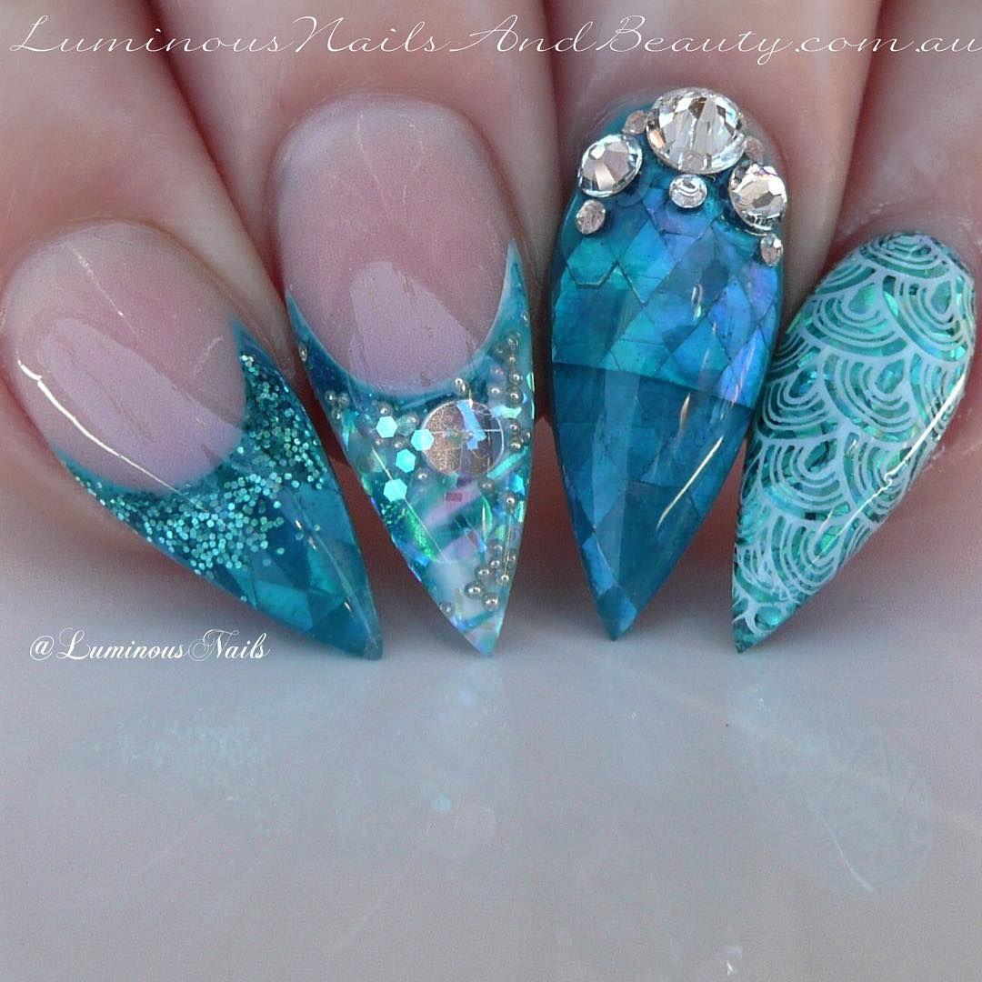 Turquoise Stiletto Nail Art: Turquoise Mermaid Inspired Stiletto Nails With Rhinestones